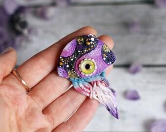 jellyfish jewelry sea creature pendant octopus necklace jellyfish art sea octopus charm jellyfish space pendant magic