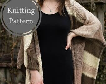 Portland Sweater Wrap Knitting Pattern | Knit Sweater Shawl | Knit Sweater Poncho | Knit Blanket Shawl | Easy Knitting Pattern | Spring Knit