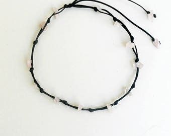 Rose quartz anklet,Black string anklet,Gemstone chips,Tie knot closure,Natural,Sea,Surfer gifts,Waxed cord,Beach anklet,Macrame body jewelry
