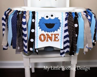 Cookie Monster 1st Birthday Highchair Banner, Sesame Street Highchair banner, 1st Birthday Boy, 1st Birthday Girl, Cake Smash Photo prop