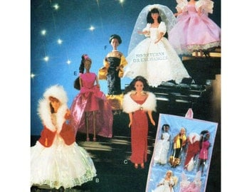"""Butterick 5061, 11.5"""" Fashion Doll Clothing, Sewing Pattern, UNCUT, Strapless Gown, Wedding Dress, Cocktail Dress, Fur Coat, Fairy Costume"""