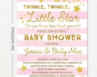 twinkle twinkle little star baby shower invitation girl, girl baby shower invitation, pink stripes gold glitter stars, printable file
