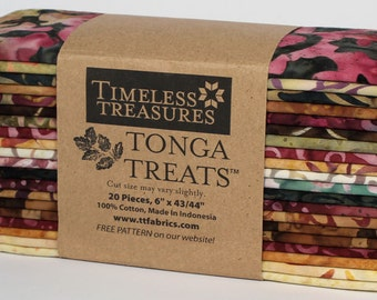 "Vineyard ""6-pack"" Batik Fabric Strips; 6"" x 43""; 20 Strips; Tonga Treats 6Pack Timeless Treasures; Precut Fabric"