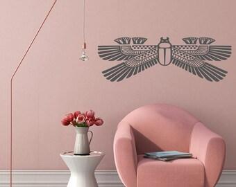Wall Decal, Winged Scarab, Egyptian Mythology, Scarab Beetle, Ancient Wall Art, Egypt, Scarab Decal, Amulet Decal, Egyptology