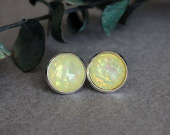 Yellow Stud Earrings, Yellow Earrings, Fire Opal Earrings, Yellow Post Earrings, Pale Yellow Earrings, Yellow Studs 12MM