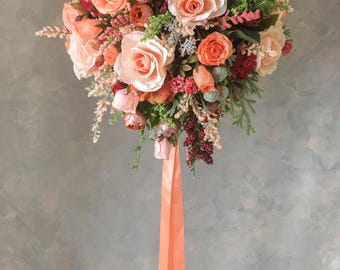 Two piece WEDDING FLOWERS bouquet silk