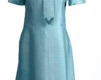 1960s Vintage Jewel Necktie Shift Dress / Free U.S. Shipping