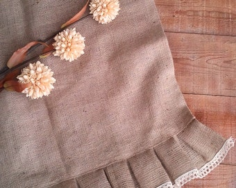 "Burlap Curtain -Burlap Drape - Cafe Curtain with Ruffle and Lace - Burlap Valance - Burlap Kitchen Drape - Rustic Curtain 53"" x 24"""