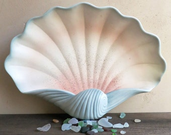 Ceramic Clam Shell, Large Clamshell Wall Art, Decorative Seashell