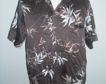 Tori Richard Brown Polyester Hawaiian Shirt ,Pattern Design Full Leafs flowers ,Made in USA, Excellent Condition