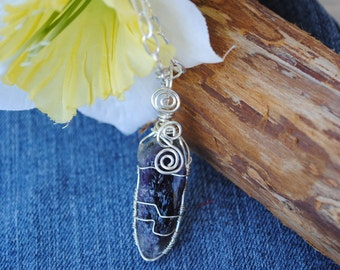 Raw amethyst necklace; wire wrapped amethyst; purple stone necklace; February birthstone; rough amethyst pendant; wire wrapped stone
