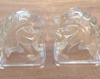 Glass Horse Bookends, Horse Head Bookend, Equestrian Gift, Horse Bookends, Horse Decor, Horse Gift, Horse Lover, Western Decor, Glass Horse
