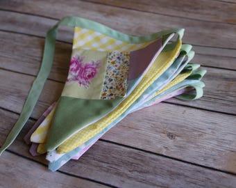 Patchwork Bunting, Custom Fabric Banner, Summer Flags, Summer Garland, Personalised Banner, Wedding Garland, Custom Fabric Flags