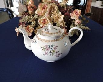 Royal Grafton England Fine Bone ChinaTea Pot Gold Filigree with Floral Design