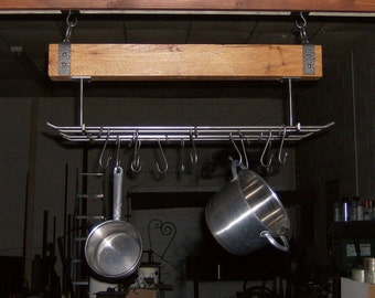 Rustic Kitchen Pot Rack