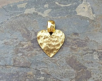 Gold Hammered Heart Pendant Pewter Bohemian Antique Rustic C94,gold heart charm,gold heart pendant,hammered heart charm,rustic heart pendant