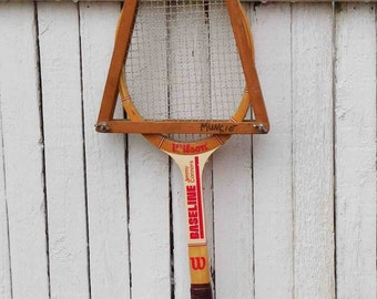 Vintage Wilson Jimmy Connors Baseline Wood Tennis Racket USA, Game Room Decor
