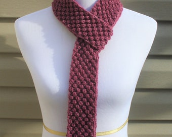 Raspberry Scarf, Dusty Rose Scarf, Rosewood Scarf, Bubble Stitch Scarf, Long Scarf, Skinny Scarf, Extra Long Scarf, Hand Knitted Scarf