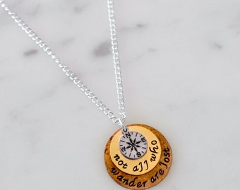 Not All Who Wander Are Lost Necklace OR Keychain w/ Silver Compass Charm - Hand Stamped, Custom Gift/Present for Birthday or Christmas