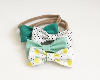 Retro Lemonade MINI Girls Hair Bows - Set of Four (4) // Summer Hair Bows / Lemonade / Baby Shower / Summer Baby Gift. NB & Toddler Bows