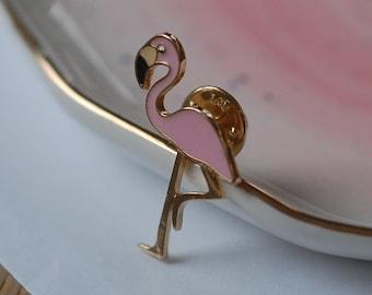 Flamingo Pin Badge, Retro Pin, Lapel Pin, Bag Badge, 80's, 3cm, Pink (W3)