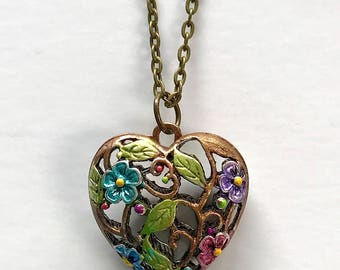 """Hand Painted """"Intricate Puffy Flower & Vines Metal Heart"""" Pendant"""