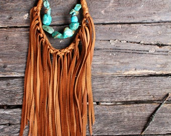 Turquoise + Fringe Statement Necklace