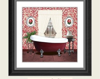 Red Burgundy Bathroom Printable Art Print Wall Decor INSTANT DOWNLOAD Digital Old Picture 8x8 inches