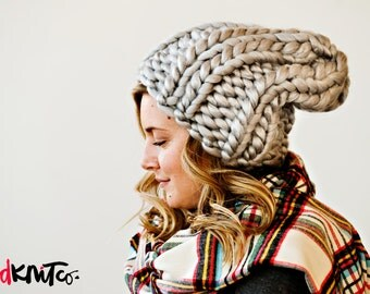 Silver LUXE LONDON hat...Vegan knit hat, hand knit, chunky knit, knit toque, knit beanie, knit hat, vegan knit, vegan gift.