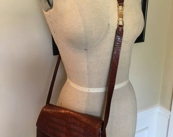 Liz Clairborne Brown Crossbody bag, leather handbag, 1980s purse, crossbody bag, brown purse, crossbody bag