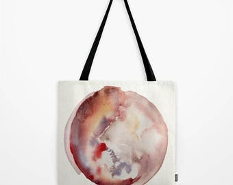 Tote bag with abstract art print. Watercolor design in tones of rust, red and purple. Women's bag. Unique design