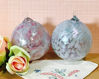 Set of Two Vintage Iridescent Glass Eye Studio Christmas Ornament White Pink Clear Hand Blown Glass Art Glass