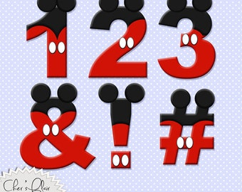 MOUSE NUMBERS PUNCTUATION -  Mouse Digital Numbers and Punctuation, Mouse Alphas, Mickey Mouse Alphas, 8.5x11,  - Instant Download