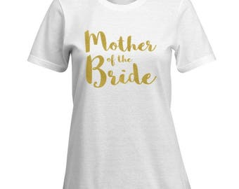 Wedding Party Shirts! Bridesmaid, Mother of the Bride, Groom Shirt Any wording!  Ultra Soft Fitted T Shirt 100% Cotton - Plus Size Available