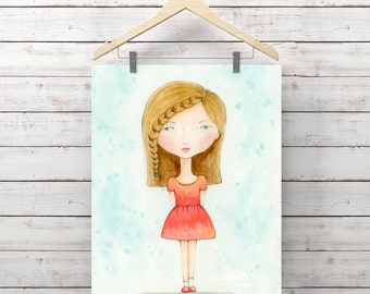 Girl with Freckles Watercolor - Print of Watercolor Whimsy Girl Painting - Girl Bedroom Decor - Original Art by Angela Weber - Giclee Print