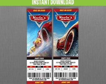 Disney Cars 3 Birthday Ticket Invitations - Instant Download and Edit with Adobe Reader - Cars 3 Birthday Party - Lightning McQueen