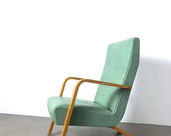 Vintage Thonet Bentwood Tall Back Lounge Chair 1950's