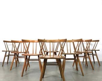 Set of Eight Vintage Nakashima Style Spindle Back Dining Chairs 1950's