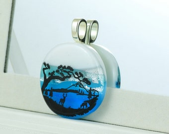 Fused Glass  Pendant - Dichroic Glass Pendant with Stag at Lake Edge - Fused Glass Jewellery - Dichroic Jewelry - Fused Glass Jewelry.JBT362