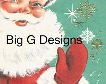 Vintage retro Santa Claus Christmas card digital download printable instant image