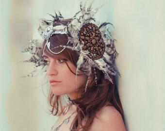 Warrior Tiara, Burning man Headpiece, Goddess Headpiece, Tribal fusion headpiece, Wedding feathered headpiece, Tantric Princess headpiece