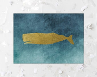 Whale Printable Whale Nursery Art Whale Nursery Decor Nautical Nursery Wall Art Nautical Wall Decor Teal Nursery Whale Print Gold Foil