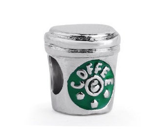 Coffee Bead, Large Hole Bead, European Bead, Charm Bead, Add a Bead, Charm Bracelet, European Charm, Big Hole Bead, Green, Silver