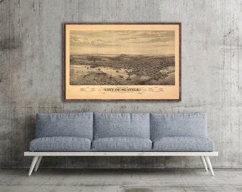 "1878 Seattle panorama, Vintage Seattle map home decor reprint - 2 large sizes up to 36"" x 24"""