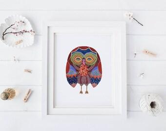 Moonlight Owl, Watercolor Art Print