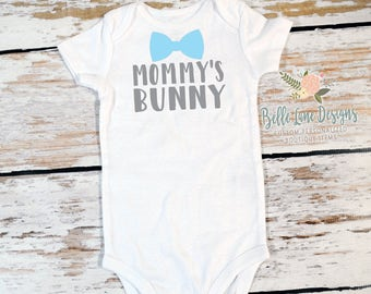 Boy's Mommy's Bunny First Easter Bow Tie Gerber Onesie | First Easter | Baby Boy Easter Outfit | First Easter Outfit for Boy | 246