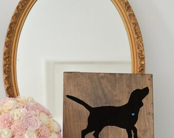 Hand Painted Beagle Silhouette on Stained Wood, Dog Decor, Dog Painting, Gift for Dog People, New Puppy Gift