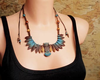 Owl Necklace - Leafy Wings - Turquoise Feathers - DISPLAY ITEM - Made to order