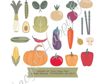 Vegetable Collection Clip Art/Vegetable Stickers/Vegetable Graphics/Happy Planner Stickers/Instant Download (PS-041)