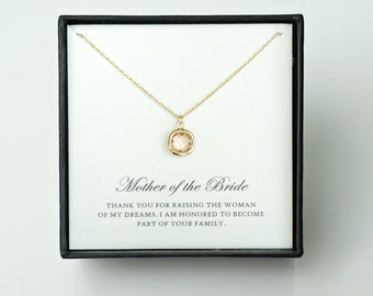 Mother of the Bride Gift from Groom - Gold Glass Necklace, Wedding Jewelry Gift & Thank You Card/ Wedding Day Gift for Mother in Law